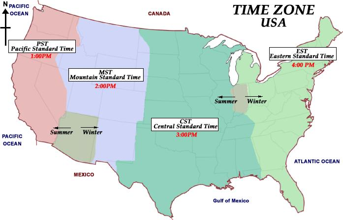 USA Time Zone - Usa time zone map